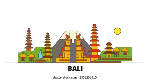 Indonesia, Bali flat landmarks vector illustration. Indonesia, Bali line city with famous travel sights, skyline, design.