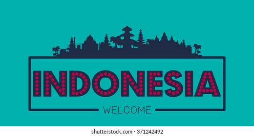 Indonesia city skyline silhouette vector design