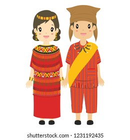 Indonesia couple wearing Toraja traditional clothes. South Sulawesi traditional clothes cartoon vector