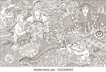 indonesia culture outline  illustration