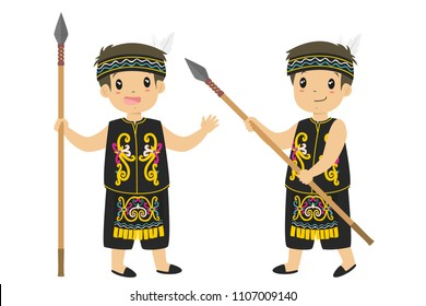 Indonesia, Dayak boy wearing Dayak traditional clothes and  holding spear cartoon vector
