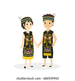 Indonesia - Dayak couple wearing traditional dress vector illustration