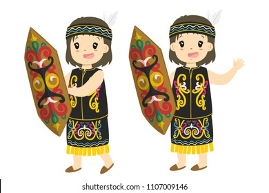 Indonesia, Dayak  girl wearing Dayak traditional clothes and holding traditional shield cartoon vector