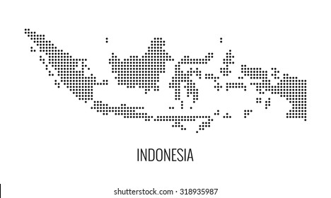 Indonesia dotted map,vector