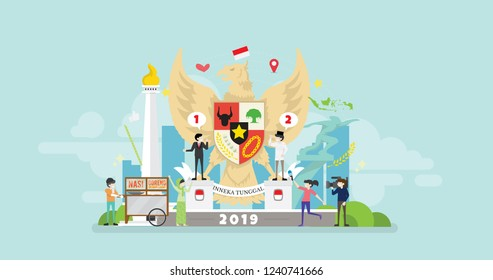 Indonesia Election Day Tiny People Character Concept Vector Illustration, Suitable For Wallpaper, Banner, Background, Card, Book Illustration, And Web Landing Page