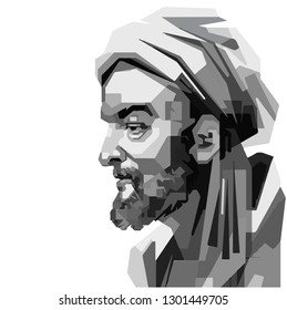 Indonesia, Feb 2019: vector isolated stylized illustration face head Avicenna Persian physicians, astronomers, thinkers and writers of the Islamic Golden Age
