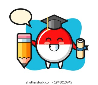 Indonesia flag badge illustration cartoon is graduation with a giant pencil