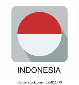 Indonesia flag, flat design vector south east asia  flag design
