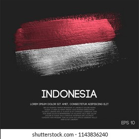 Indonesia Flag Made of Glitter Sparkle Brush Paint Vector