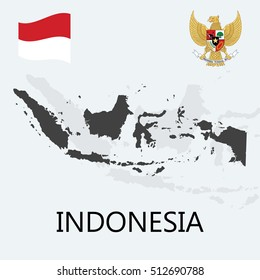 Indonesia Flag, Map & National Emblem