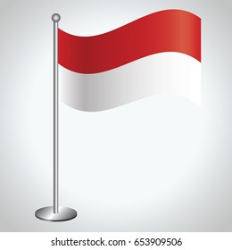 Indonesia Flag with Metal Pole. Vector illustration