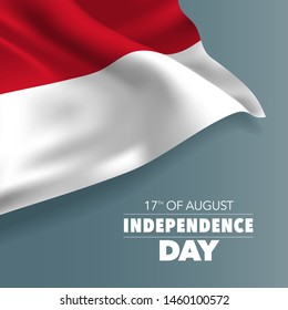 Indonesia happy independence day greeting card, banner, vector illustration. Indonesian holiday 17th of August design element with flag with curves