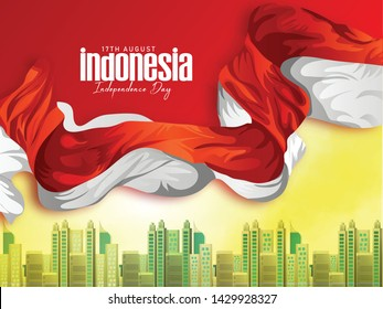 Indonesia Happy Independence Day,17 August poster, banner, and  use red  bacground