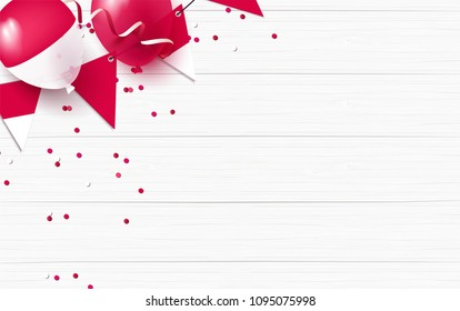Indonesia holiday background with balloons, flag and confetti. Festive frame flat lay. Vector illustration