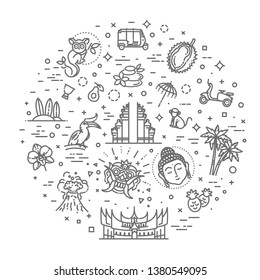 Indonesia icons set. Attractions, line design. Tourism in Indonesia, isolated vector illustration. Traditional symbols