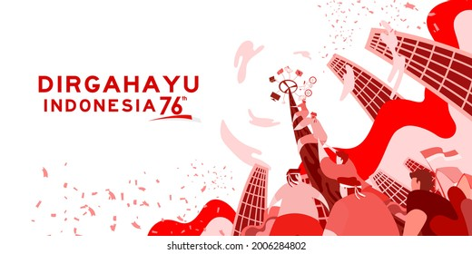 Indonesia independence day 17 august with traditional games concept illustration. 76 tahun kemerdekaan indonesia translates to 76 years Indonesia independence day - Shutterstock ID 2006284802