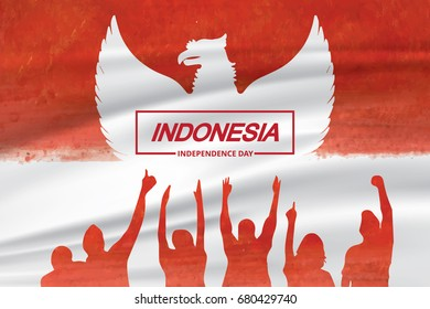 Indonesia independence day celebration with flag and people vector illustration