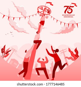 Indonesia independence day greeting card with traditional games concept illustration. 75 tahun kemerdekaan indonesia translates to 75 years Indonesia independence day.