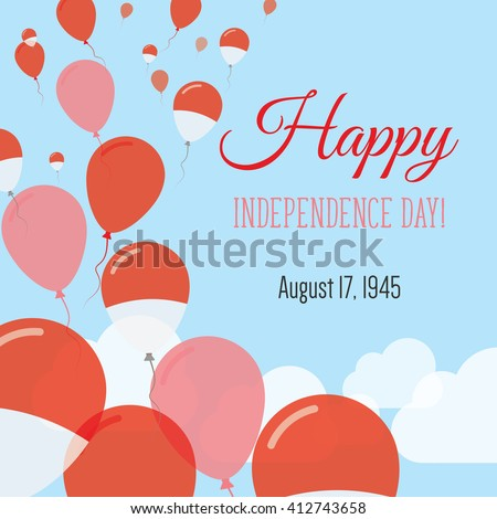 Indonesia Independence Day Greeting Card Flying Stock Vector