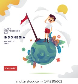 Indonesia Independence Day Illustration Kid