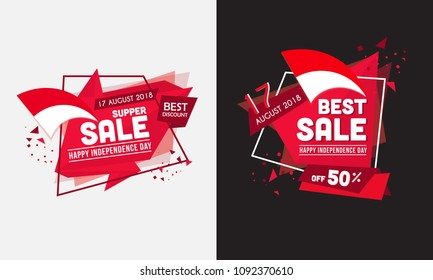 Indonesia Independence Day sale off sticker vector illustration.