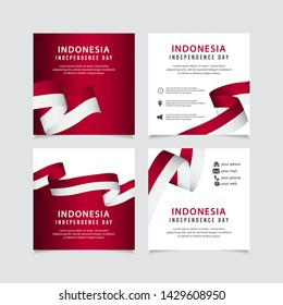 Indonesia independence day vector template. Design for banner, greeting cards or print.