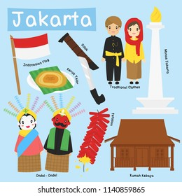 Indonesia, Jakarta vector collection. Traditional clothes, house, weapon, food, and national monument.