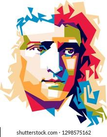 Indonesia, January 29, 2019: Illustration Pop Art Portrait Of Issac Newton.