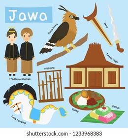 Indonesia, Javanese vector collection. Javanese traditional cultural symbols, cuisine, and landmarks vector collection