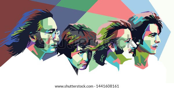 Indonesia, Jul 2019: vector isolated stylized illustration face head The Beatles famous icon musician from Britain England instruments, George Harrison, John Lennon, Paul McCartney and Ringo Starr