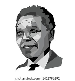Indonesia, Jun 2019: Nelson Mandela face head vector template illustration South African anti-apartheid revolutionary, political leader, and philanthropist