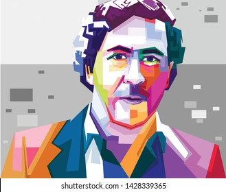 Indonesia, Jun 2019: vector pop art color full isolated stylized illustration Pablo Emilio Escobar Colombian drug lord and narco terrorist. His cartel