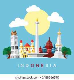 Indonesia Landmarks Flat Vector Illustration