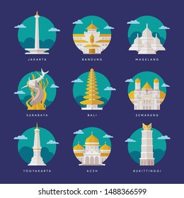 Indonesia Landmarks Flat Vector Illustration