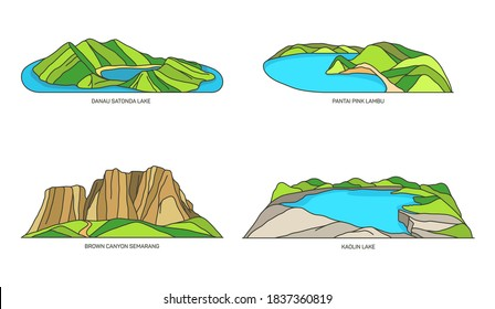 Indonesia landmarks, line travel icons in color
