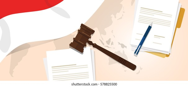 Indonesia law constitution legal judgment justice legislation trial concept using flag gavel paper and pen