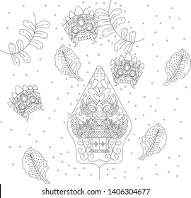 Indonesia line culture pattern , Wayang pattern , leak pattern, background pattern line - set of hand drawn paisley and flowers vector - original hand draw line art ornate flower design