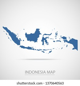 Indonesia map. Blue Indonesia map and Country name . Vector map on gray background. Symbol for your web site design map logo. app, ui, Travel vector eps10, concept Illustration.