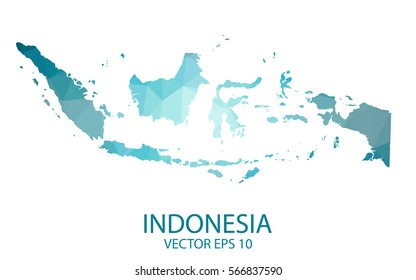 Indonesia map - blue geometric rumpled triangular low poly style gradient graphic background , polygonal design. Vector illustration eps 10.