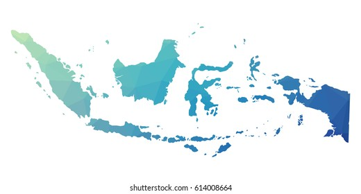 Indonesia map - blue geometric rumpled triangular low poly style gradient graphic background , polygonal design for your . Vector illustration eps 10.