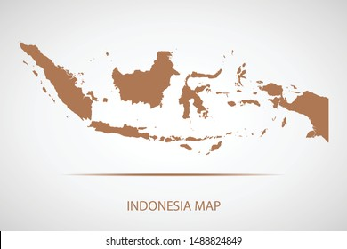 Indonesia map, brown color and country name. Map of Asia. Vector map on gray background. Symbol for your web site design map logo. app, ui, Travel vector eps10, concept Illustration.