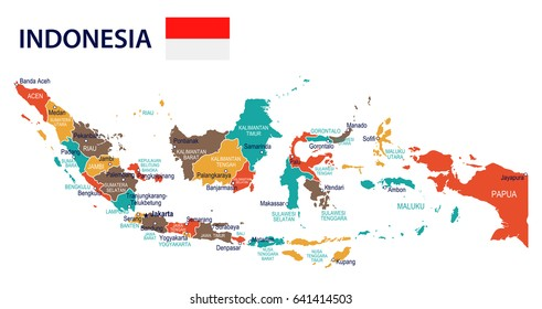 Indonesia map and flag - highly detailed vector illustration