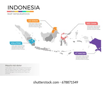 Indonesia map infographics vector template with regions and pointer marks