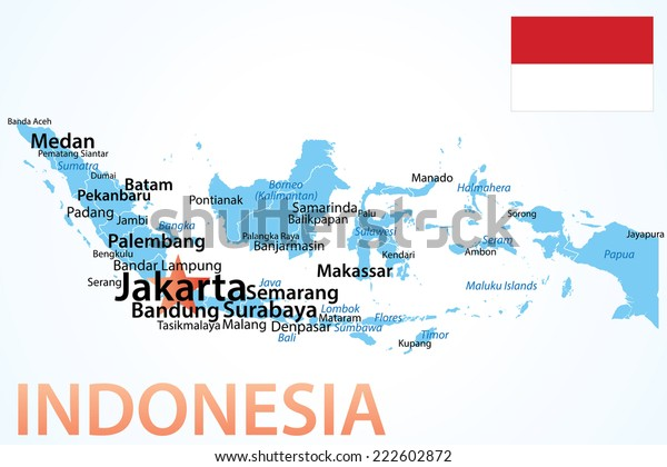 Indonesia - map with largest cities, carefully scaled text by city population.
