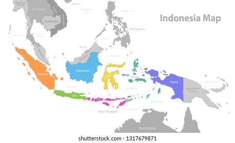 Indonesia map, new political detailed map, separate individual states, with state names, isolated on white background 3D vector