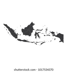 Indonesia map on white background vector, Indonesia Map Outline Shape Black on White Vector Illustration, High detailed black illustration map -Indonesia.
