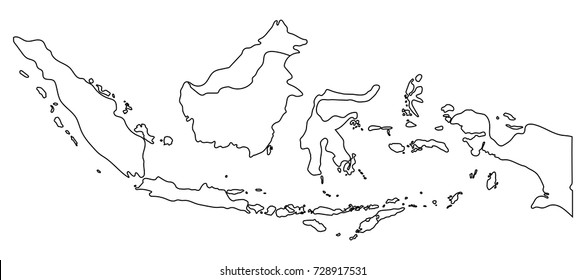 Indonesia map outline graphic freehand drawing on white background. Vector illustration.