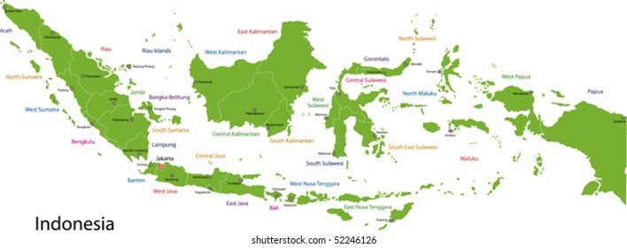 Indonesia map with provinces and capital cities