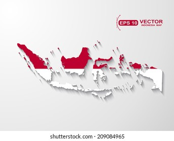 Indonesia map with shadow effect