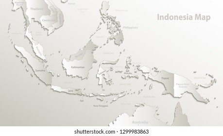 Indonesia map, state names, separate states, individual region, card paper 3D natural vector